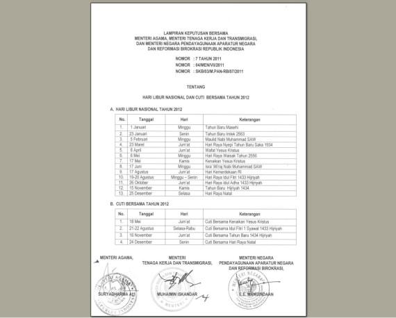 BARU) DOWNLOAD KALENDER 2012 INDONESIA : Sesuai SKB 3 Menteri, Lengkap