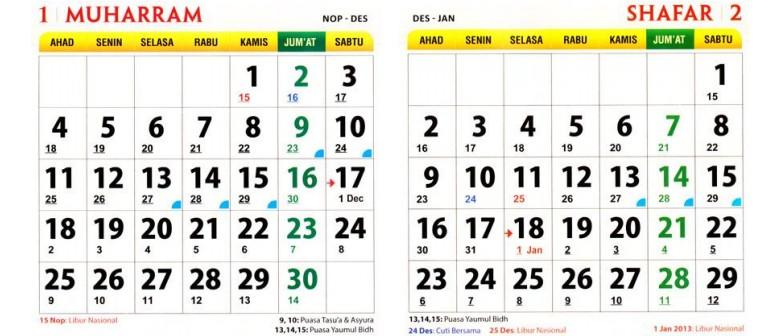 Contoh kalender 1434-1435 Hijriah (2013 Masehi) - baca artikel untuk ...